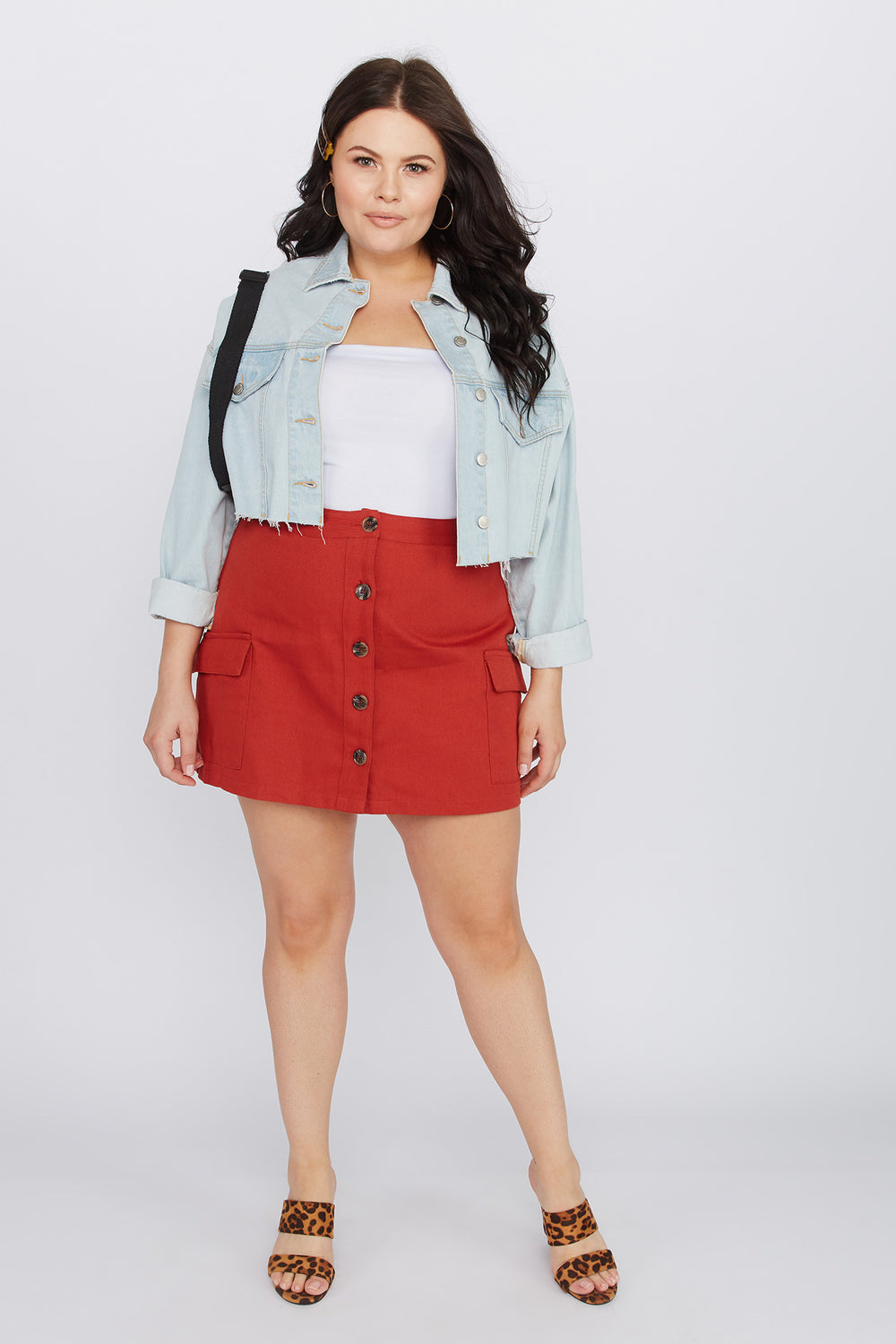 Plus Size A-Line Rust Button-Up Cargo Mini Skirt Rust