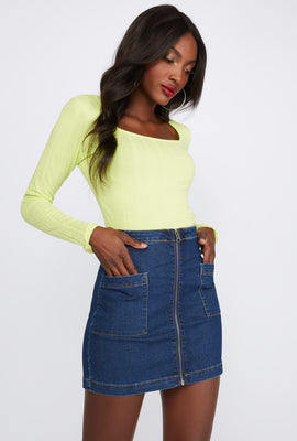 Refuge Zip Denim Mini Skirt