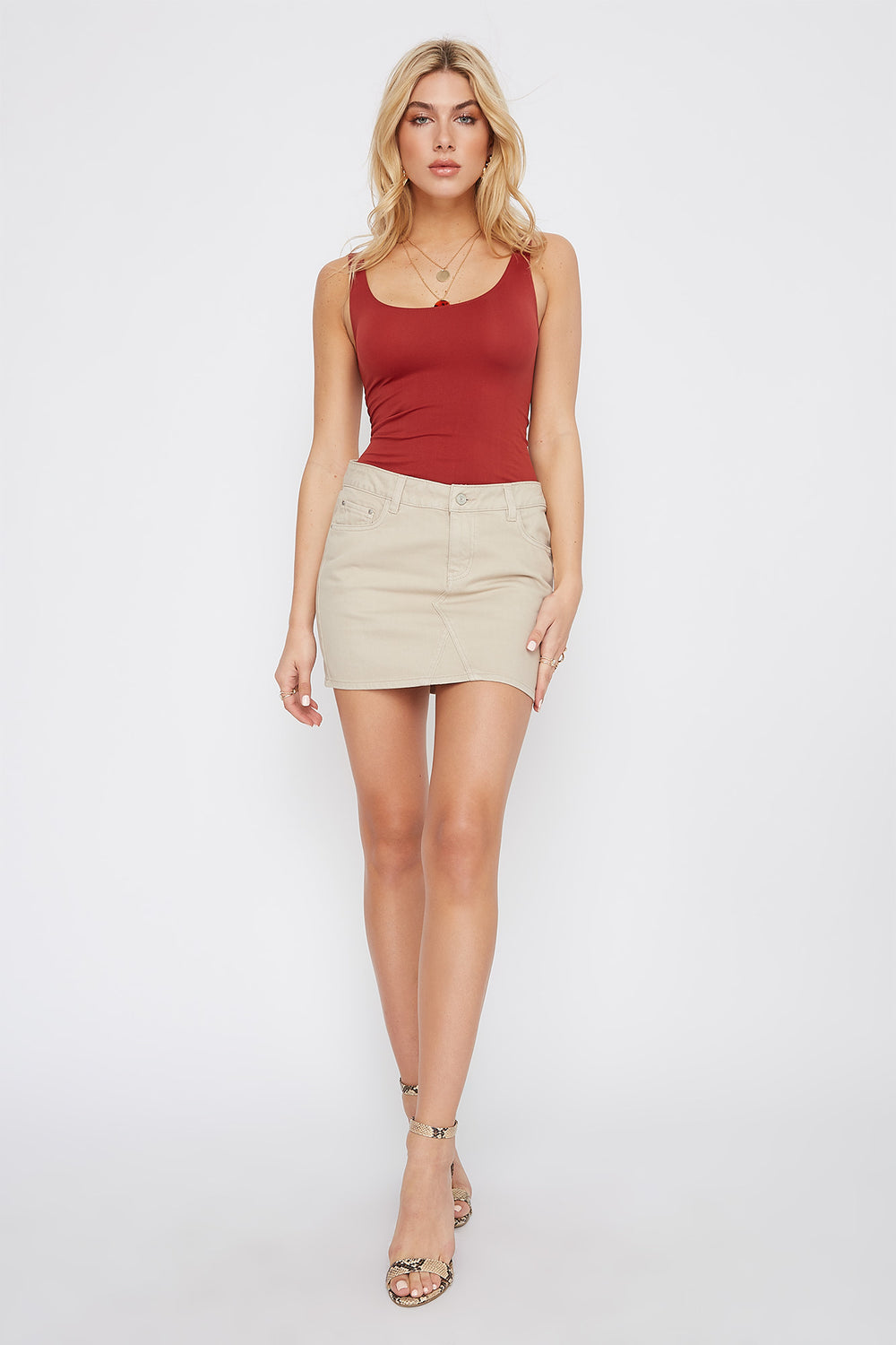 Refuge Oatmeal Denim Mini Skirt Oatmeal