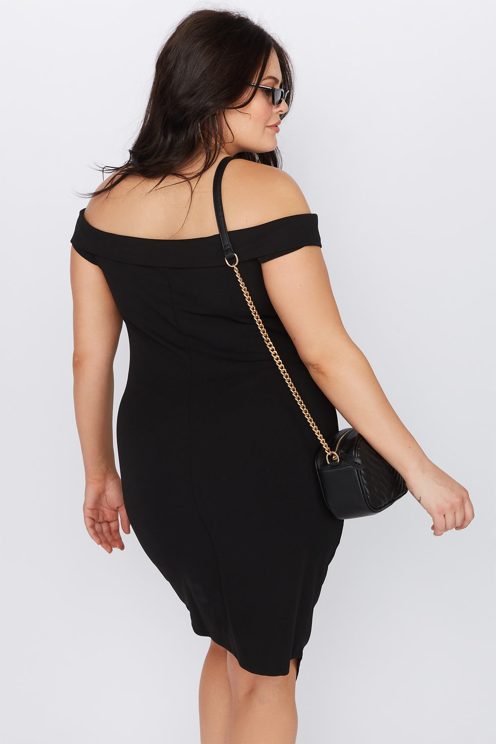 Plus Size Off the Shoulder Asymmetrical Mini Dress Black