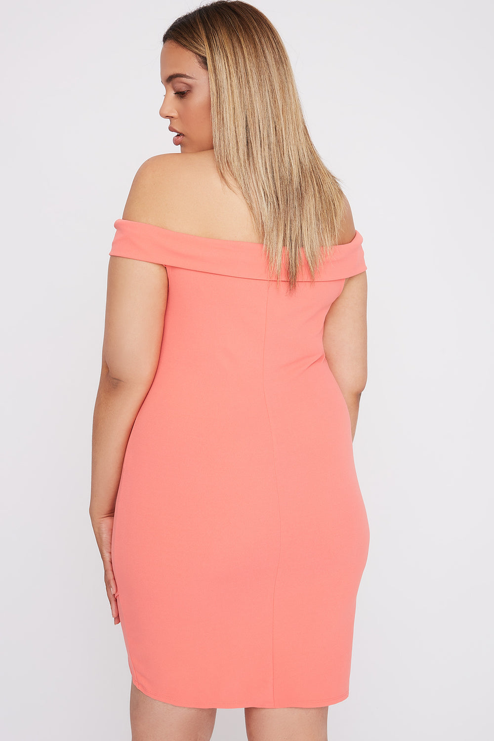Plus Size Off the Shoulder Asymmetrical Mini Dress Peach