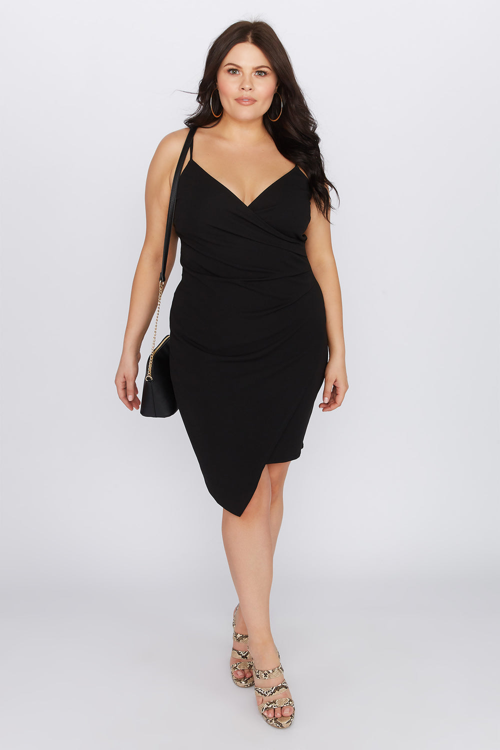 Plus Size Asymmetrical Mini Dress Black
