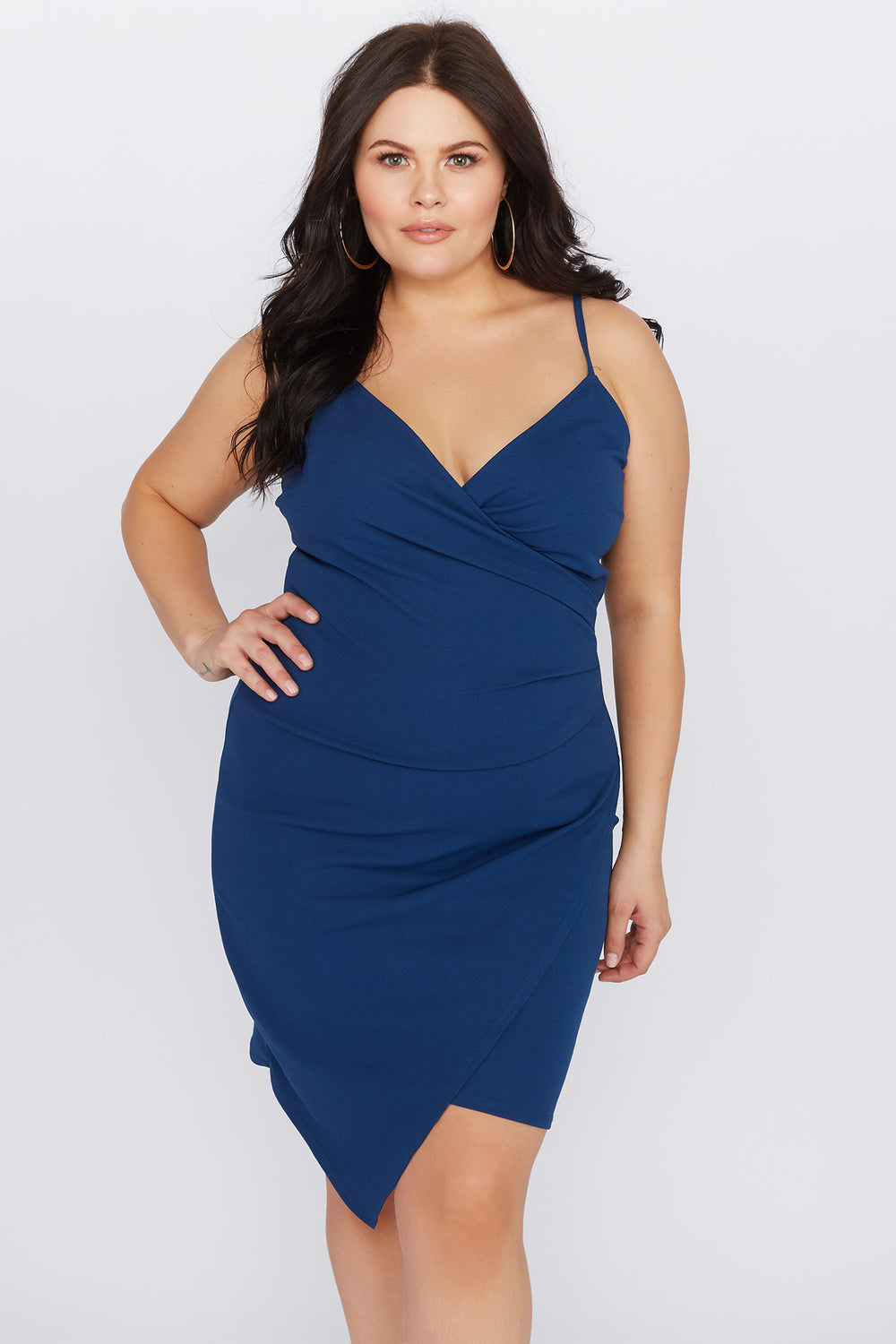 Plus Size Asymmetrical Mini Dress Blue