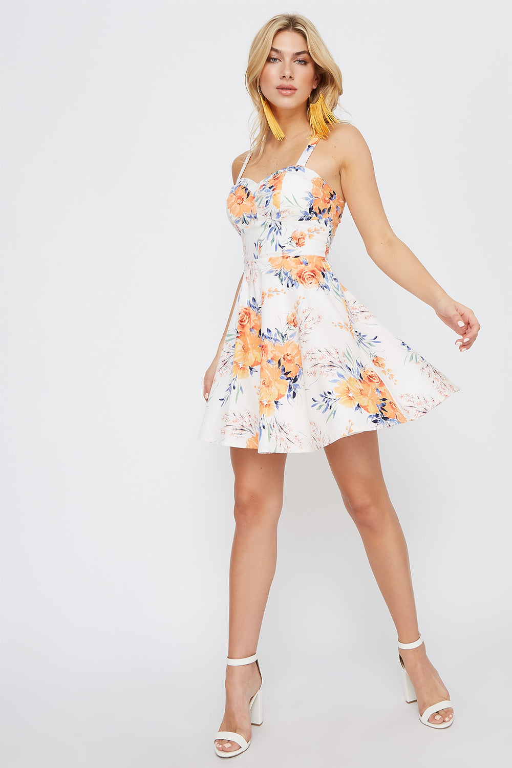 Floral Bustier Flare Mini Dress Ivory