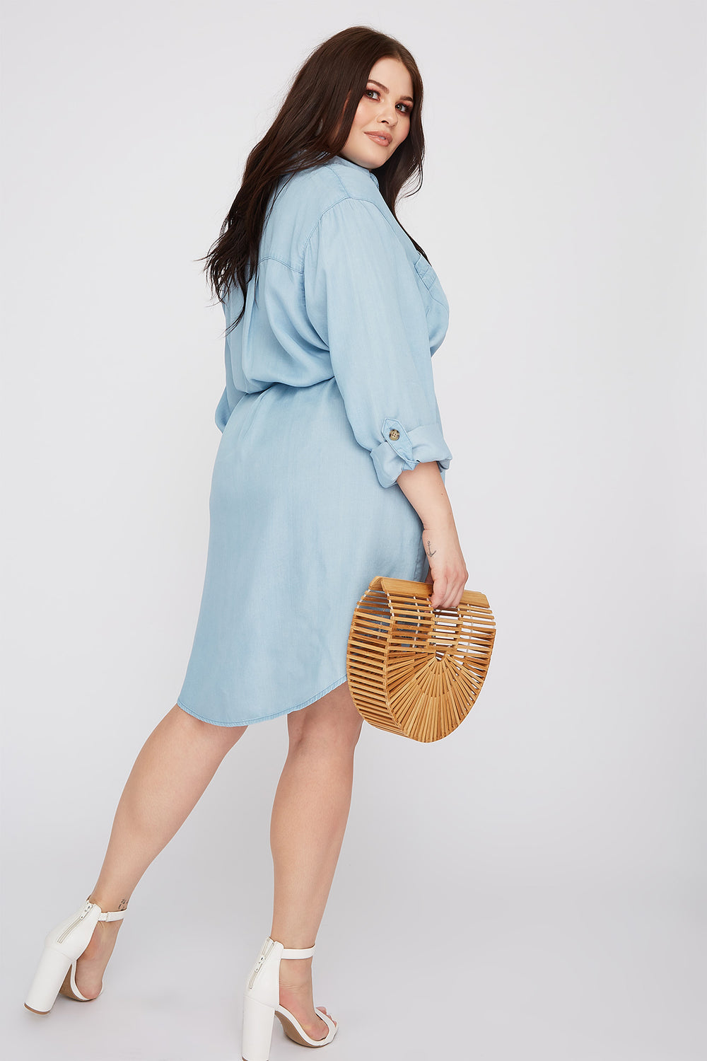 Plus Size Chambray Button-Up Shirt Dress Light Denim Blue