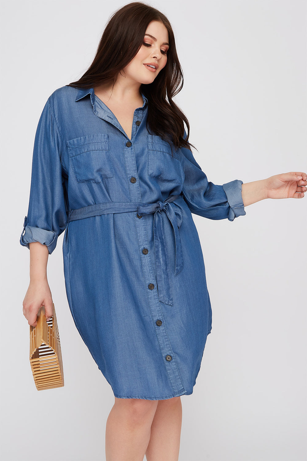Plus Size Chambray Button-Up Shirt Dress – Charlotte Russe
