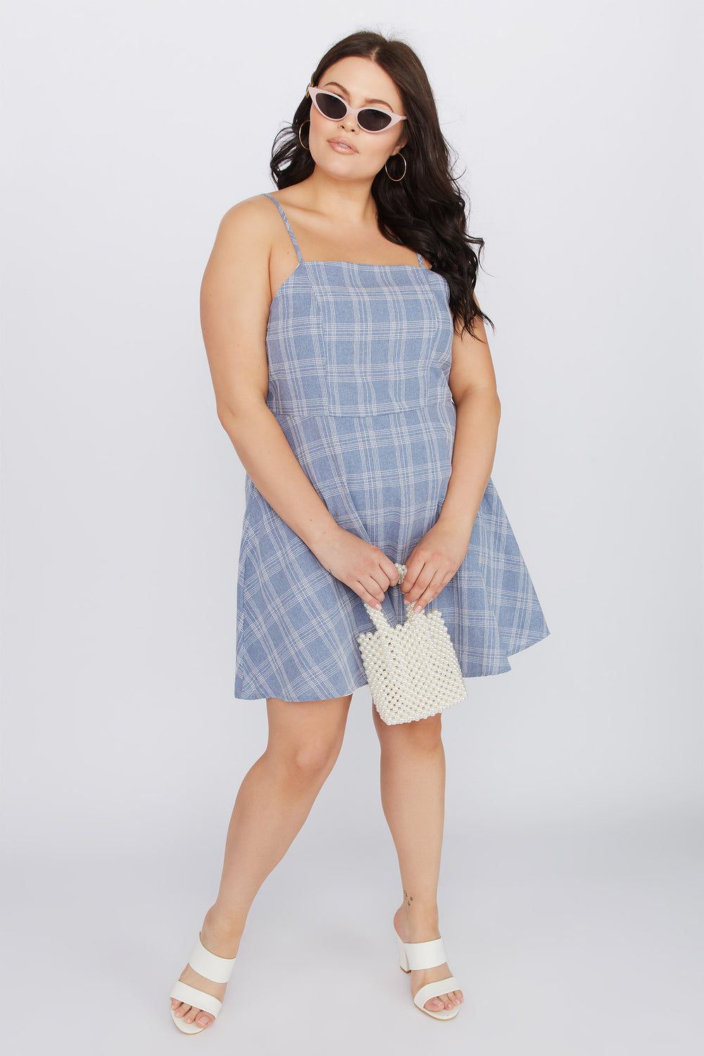 Plus Size Plaid A-Line Mini Dress Blue