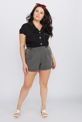 Plus Size Striped High-Rise Button Short