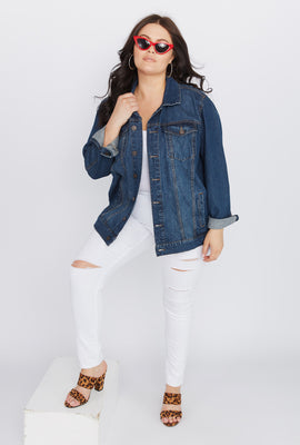 Refuge Plus Size Boyfriend Denim Jacket
