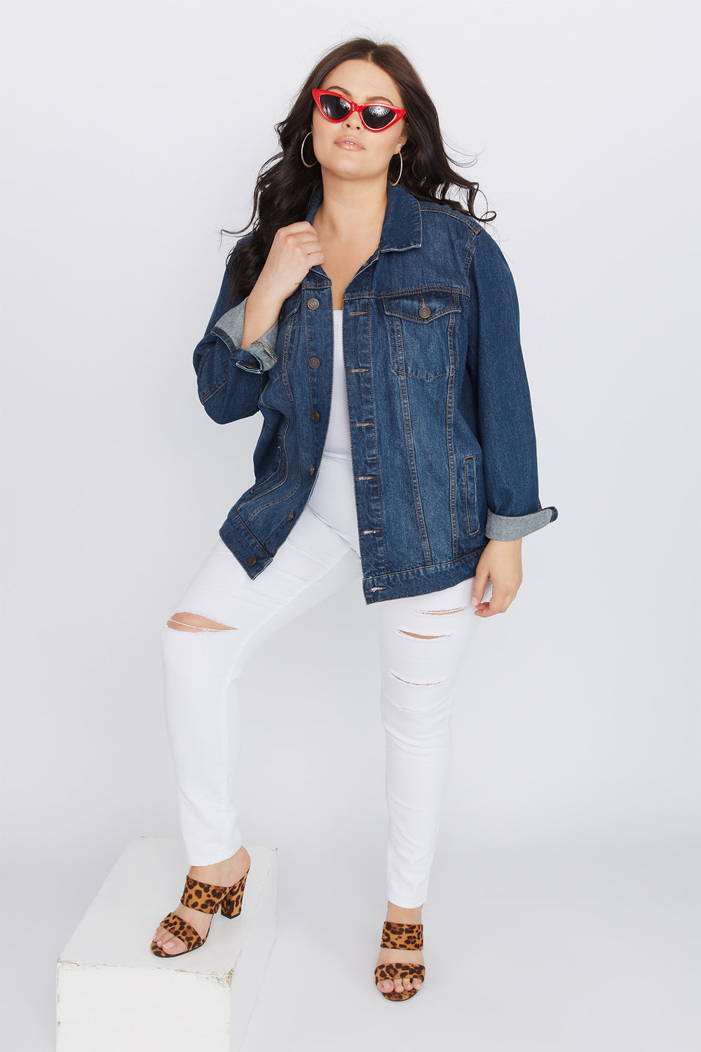 Refuge Plus Size Boyfriend Denim Jacket Dark Blue