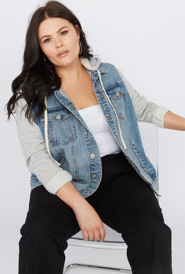 Refuge Plus Size Jersey Hooded Denim Jacket