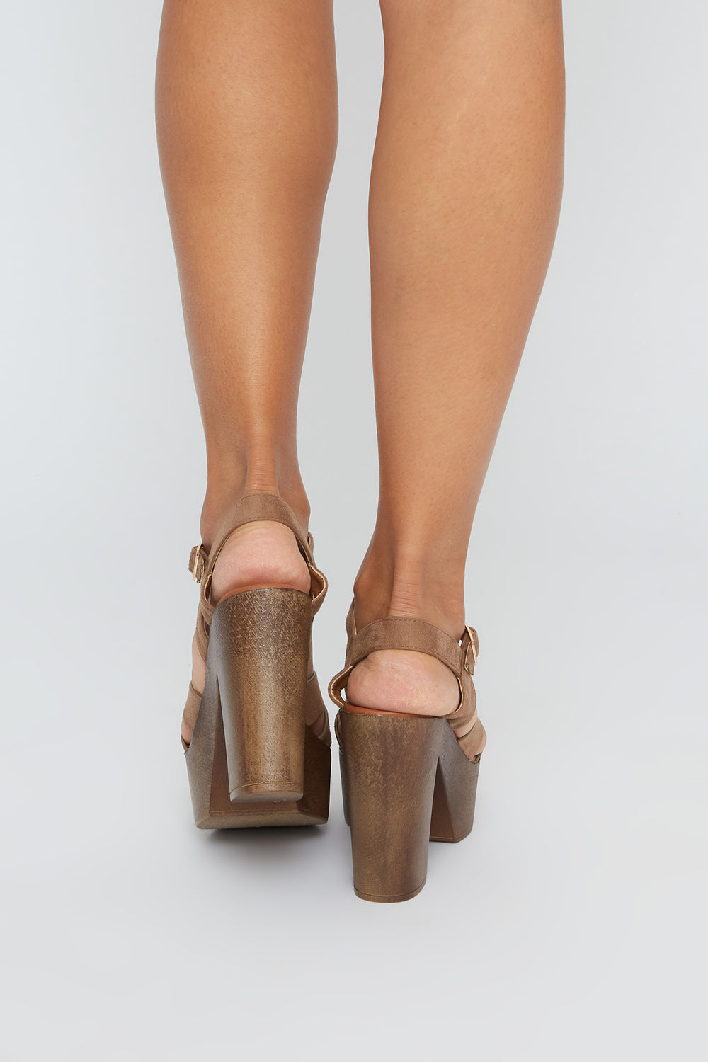 Strappy Platform Faux-Suede Block Heel Sandal Taupe