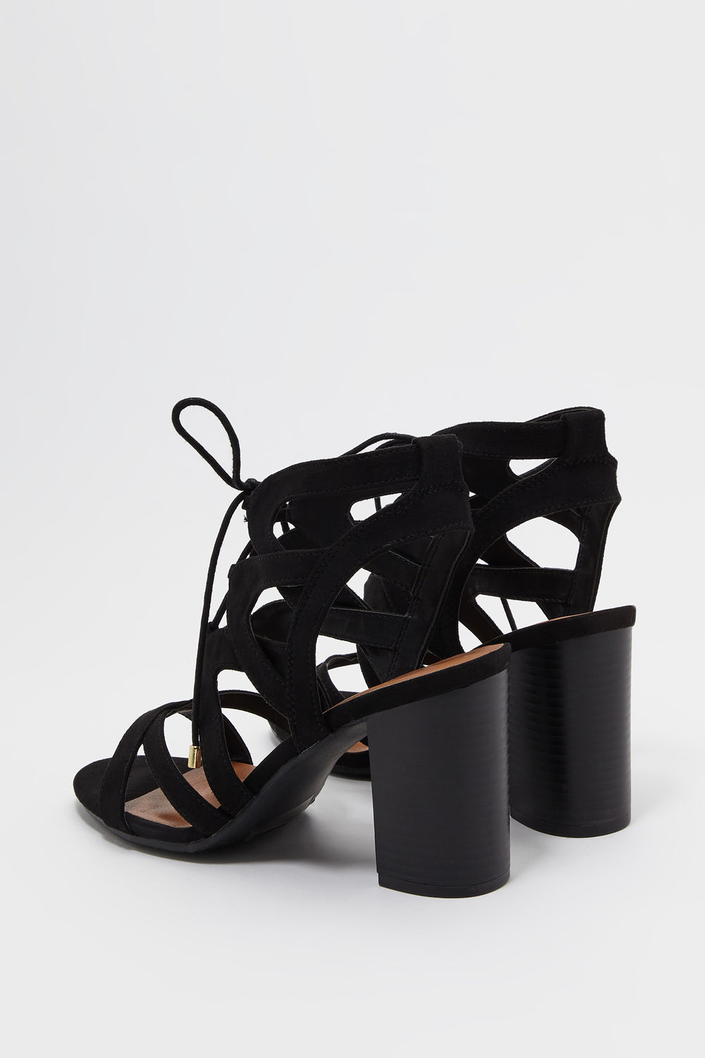 Lace Up Cut Out Faux-Suede Block Heel Sandal Black