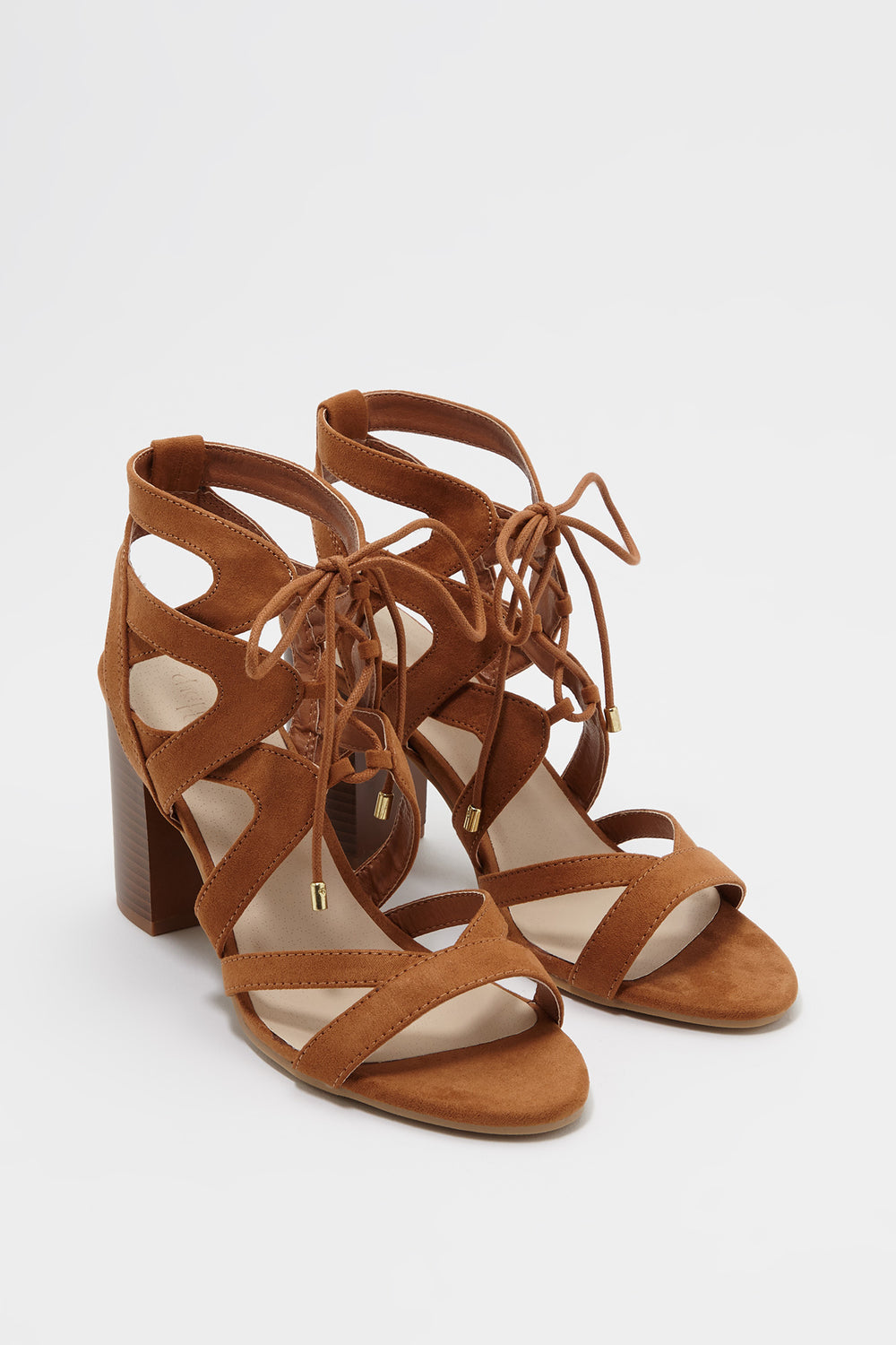 Lace Up Cut Out Faux-Suede Block Heel Sandal Camel