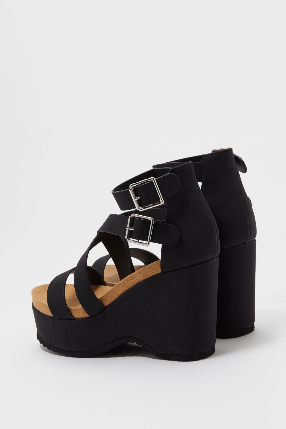 Banded Platform Wedge Sandal Black