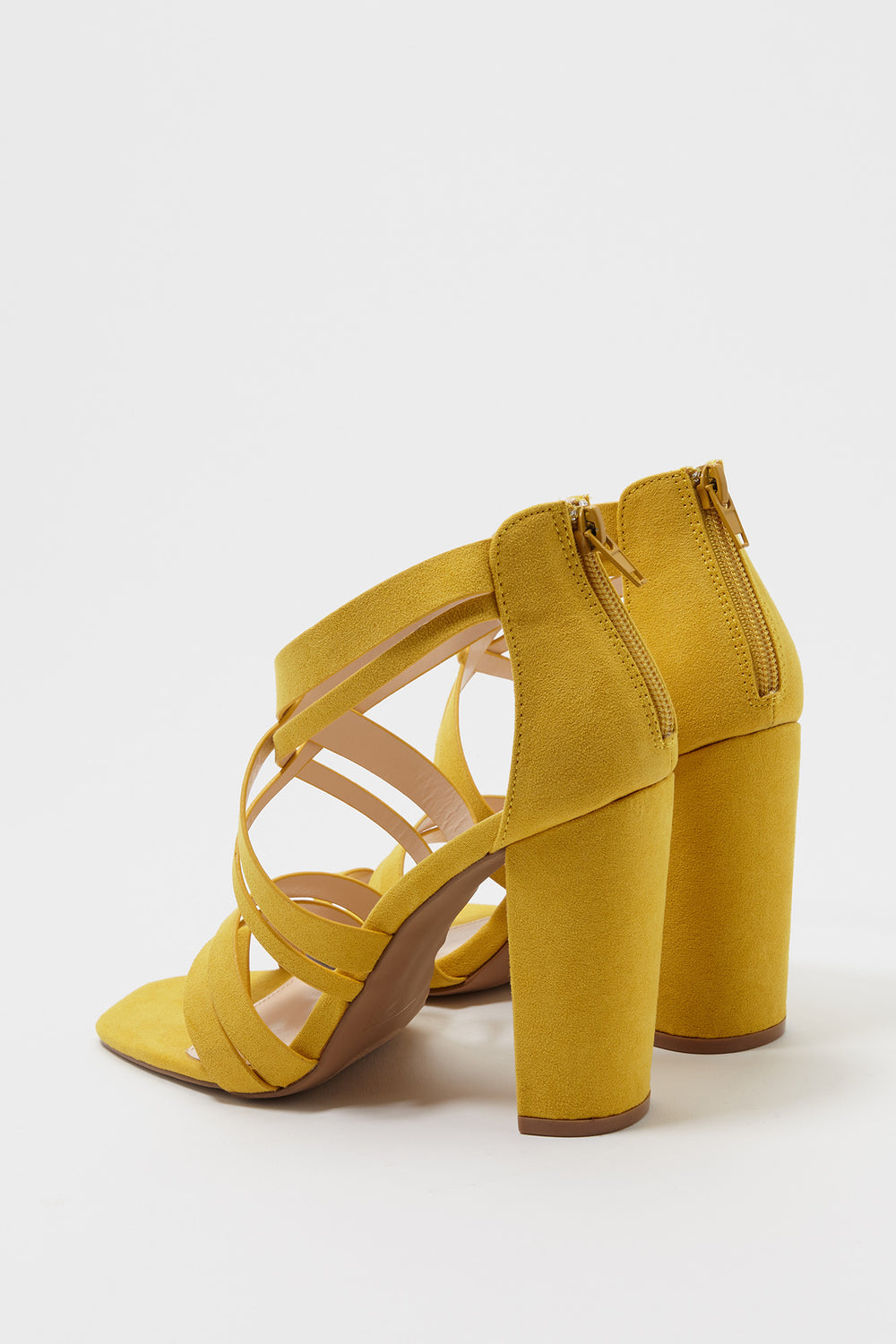 Cross Toe Strap Faux-Suede Block Heel Sandal Yellow