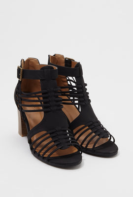 Caged Strappy Block Heel Sandal