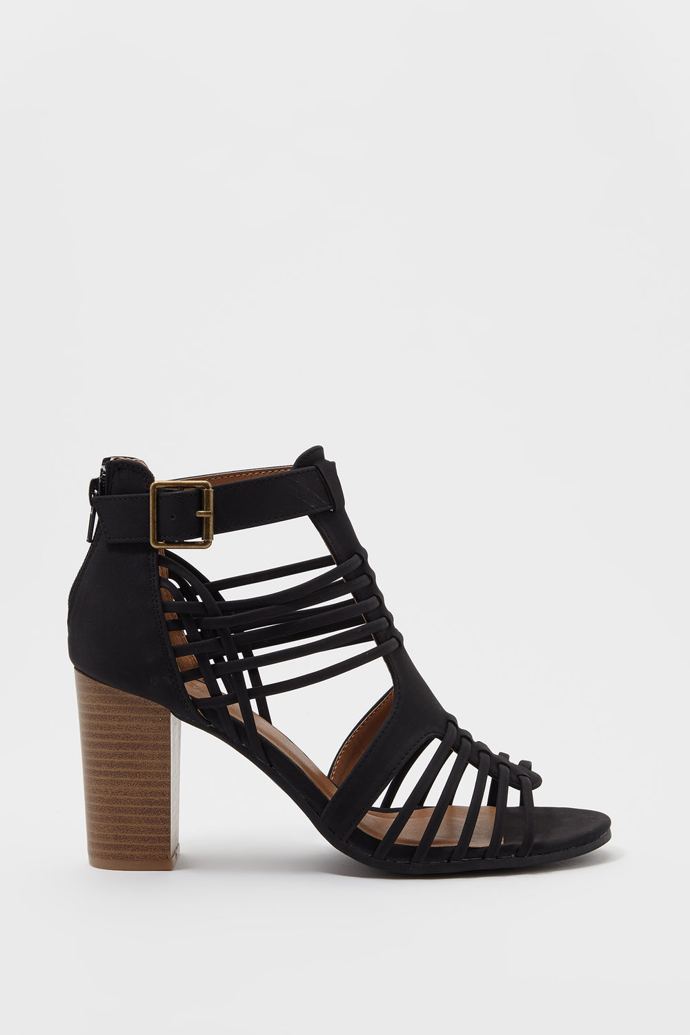 Caged Strappy Block Heel Sandal Black