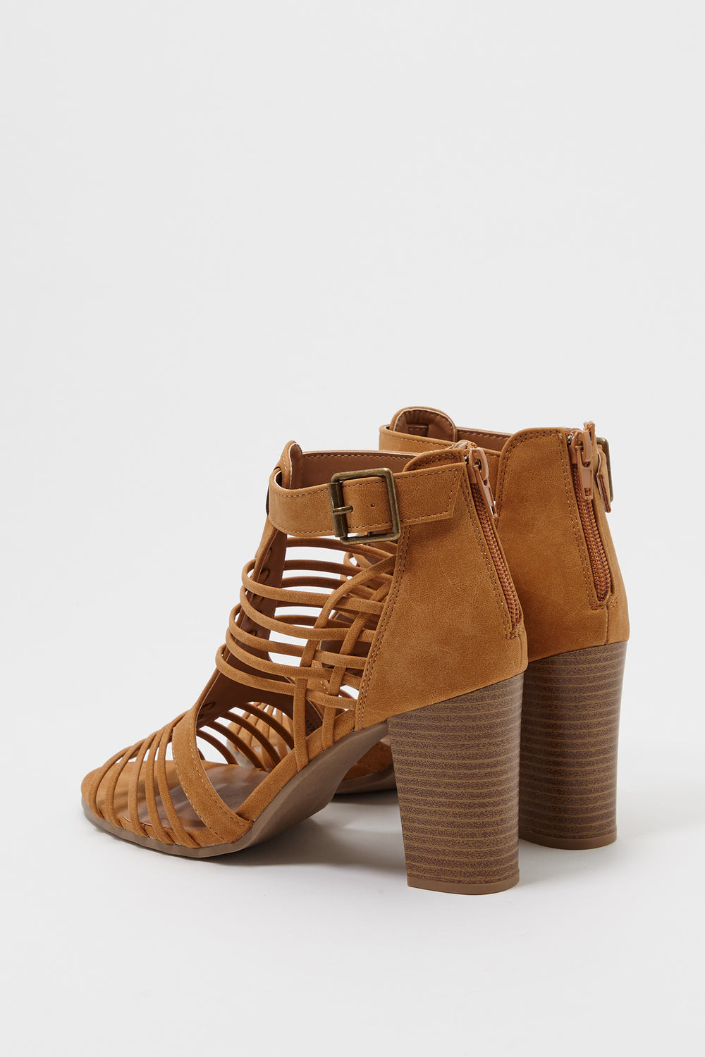 Caged Strappy Block Heel Sandal Camel