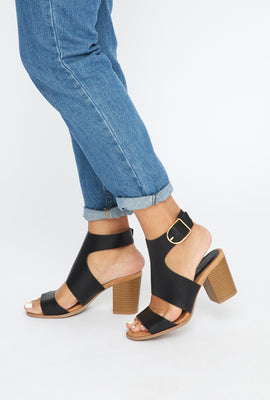 Cut Out Faux-Leather Block Heel Sandal