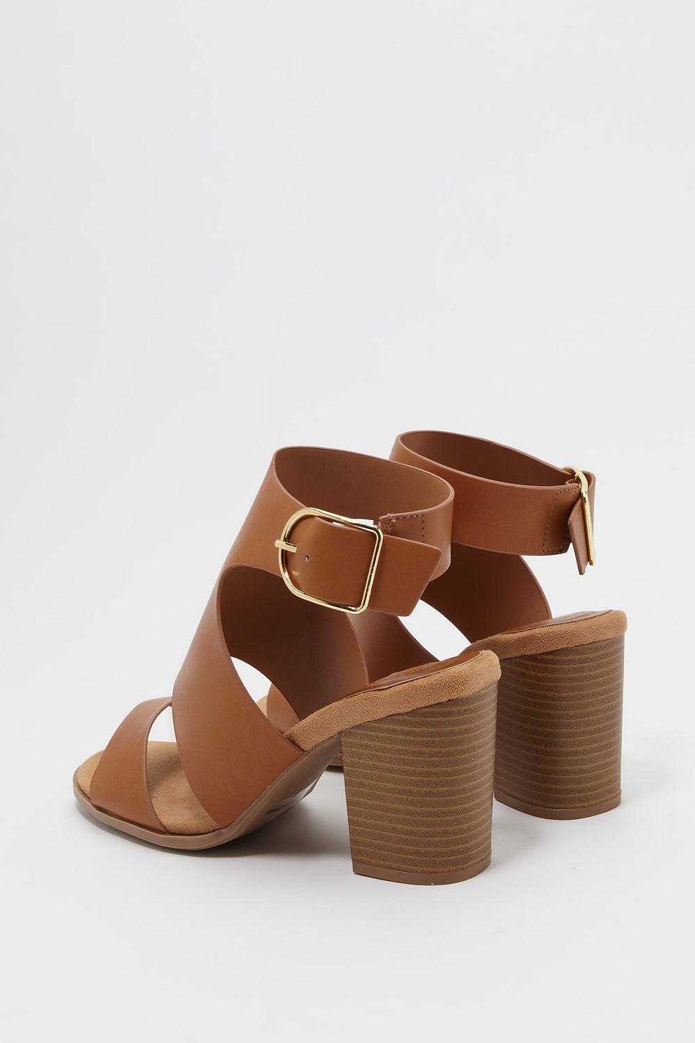 Cut Out Faux-Leather Block Heel Sandal Medium Brown