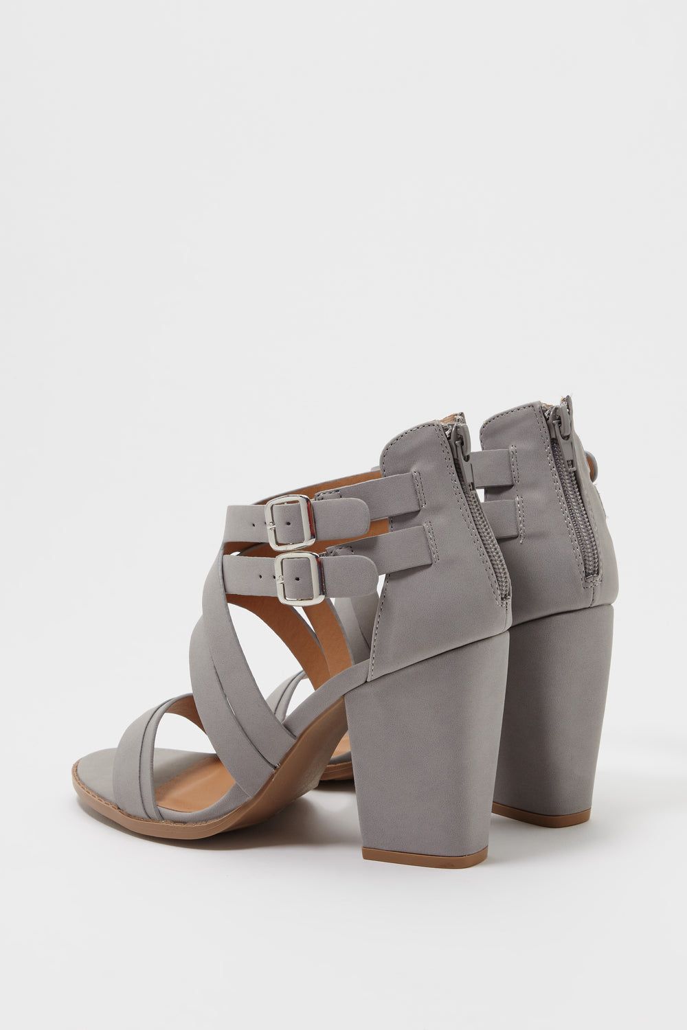 Double Strap Block Heel Sandal Dark Grey