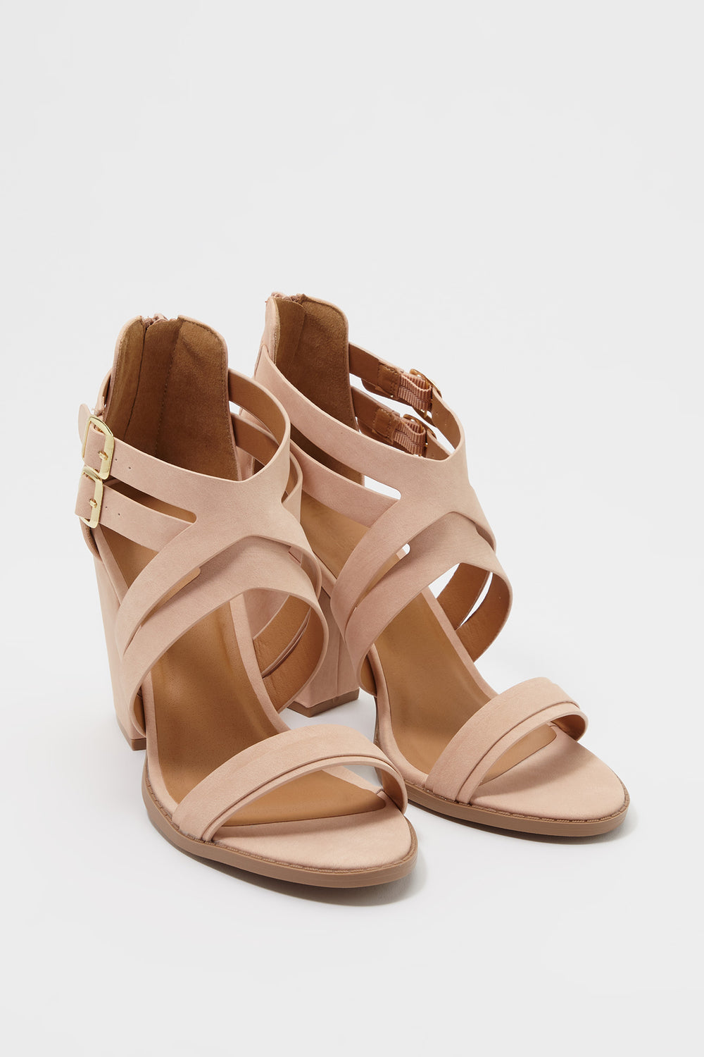 Double Strap Block Heel Sandal Natural