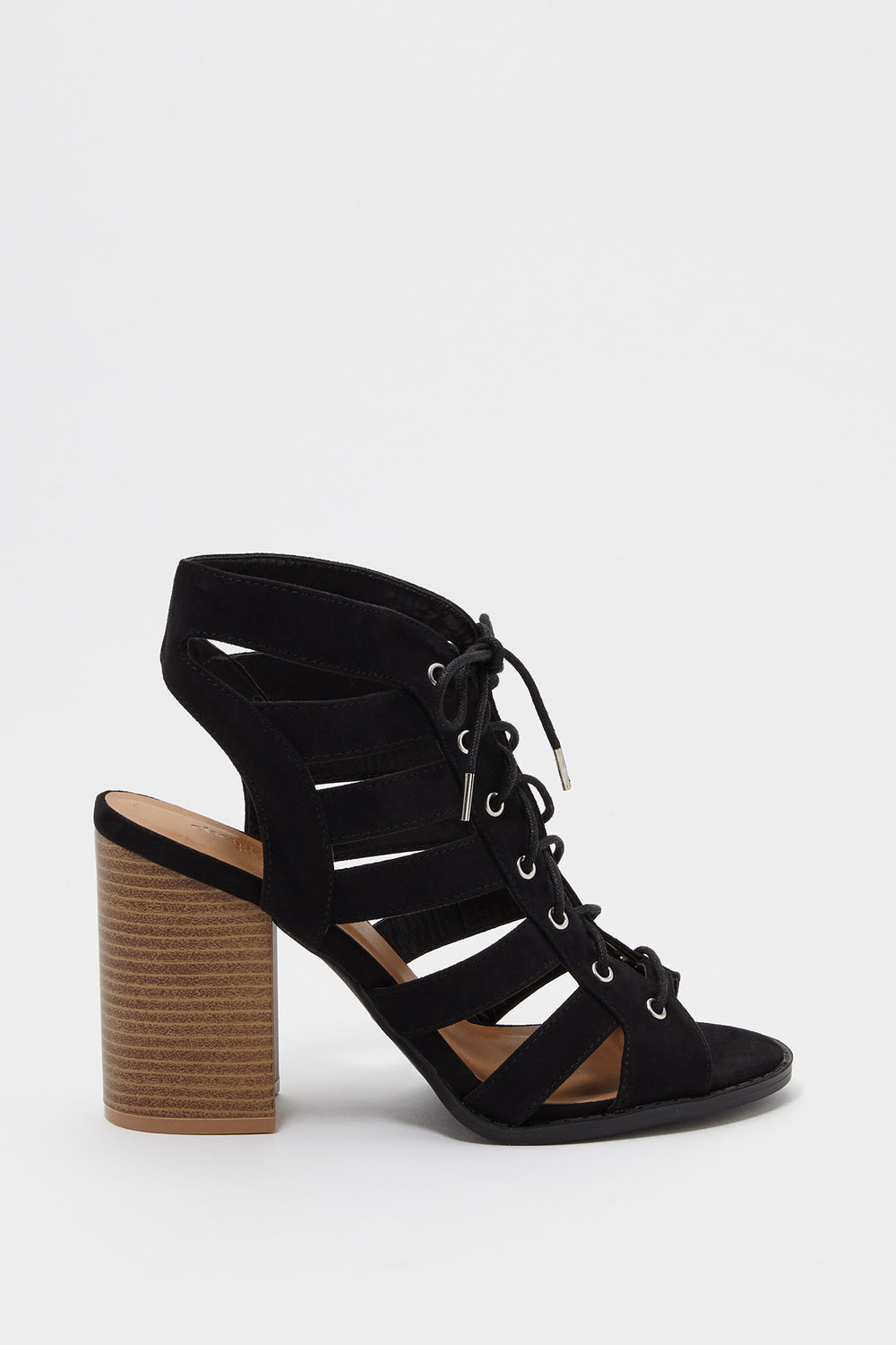 Lace Up Faux-Suede Block Heel Sandal Black