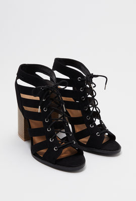Lace Up Faux-Suede Block Heel Sandal
