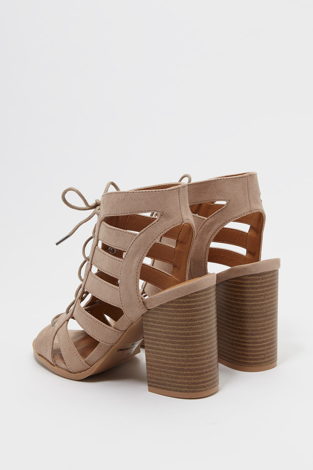 Lace Up Faux-Suede Block Heel Sandal Taupe