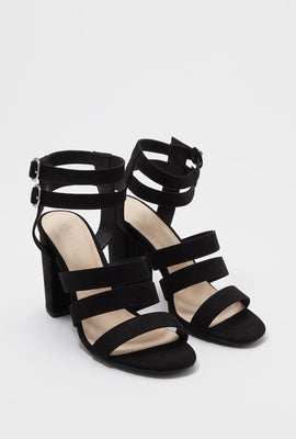 Multi Band Faux-Suede Block Heel Sandal