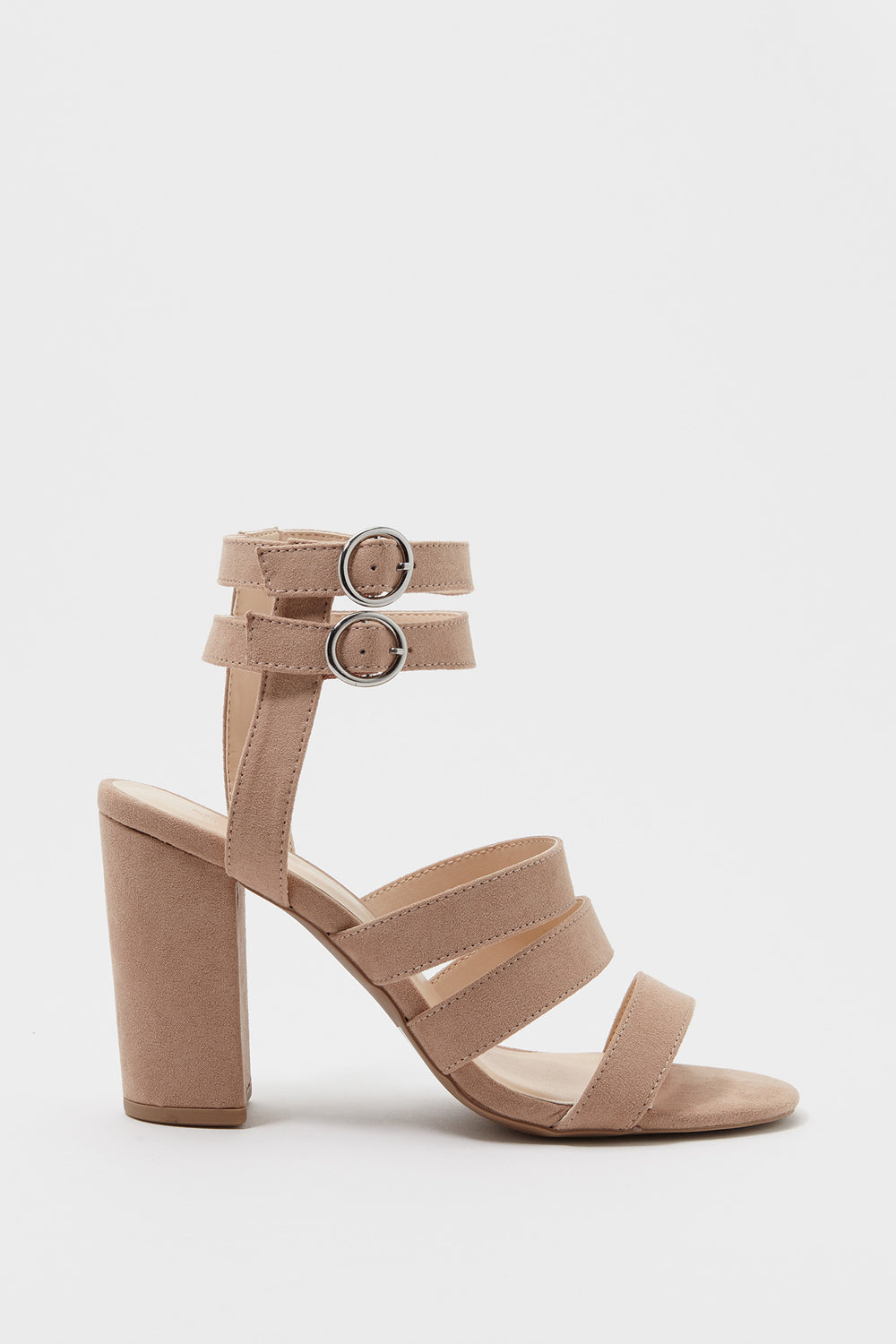 Multi Band Faux-Suede Block Heel Sandal Taupe