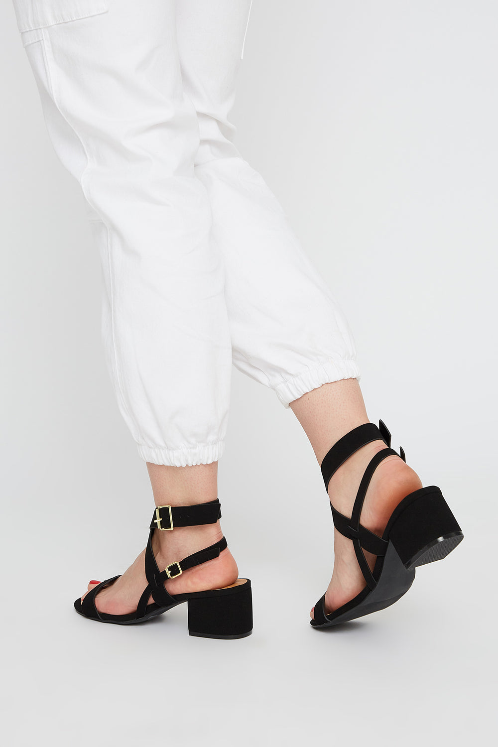 Cross Low Block Heel Sandal Black