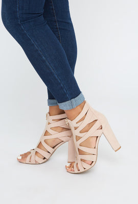 Caged Zipper Faux-Suede Block Heel Sandal