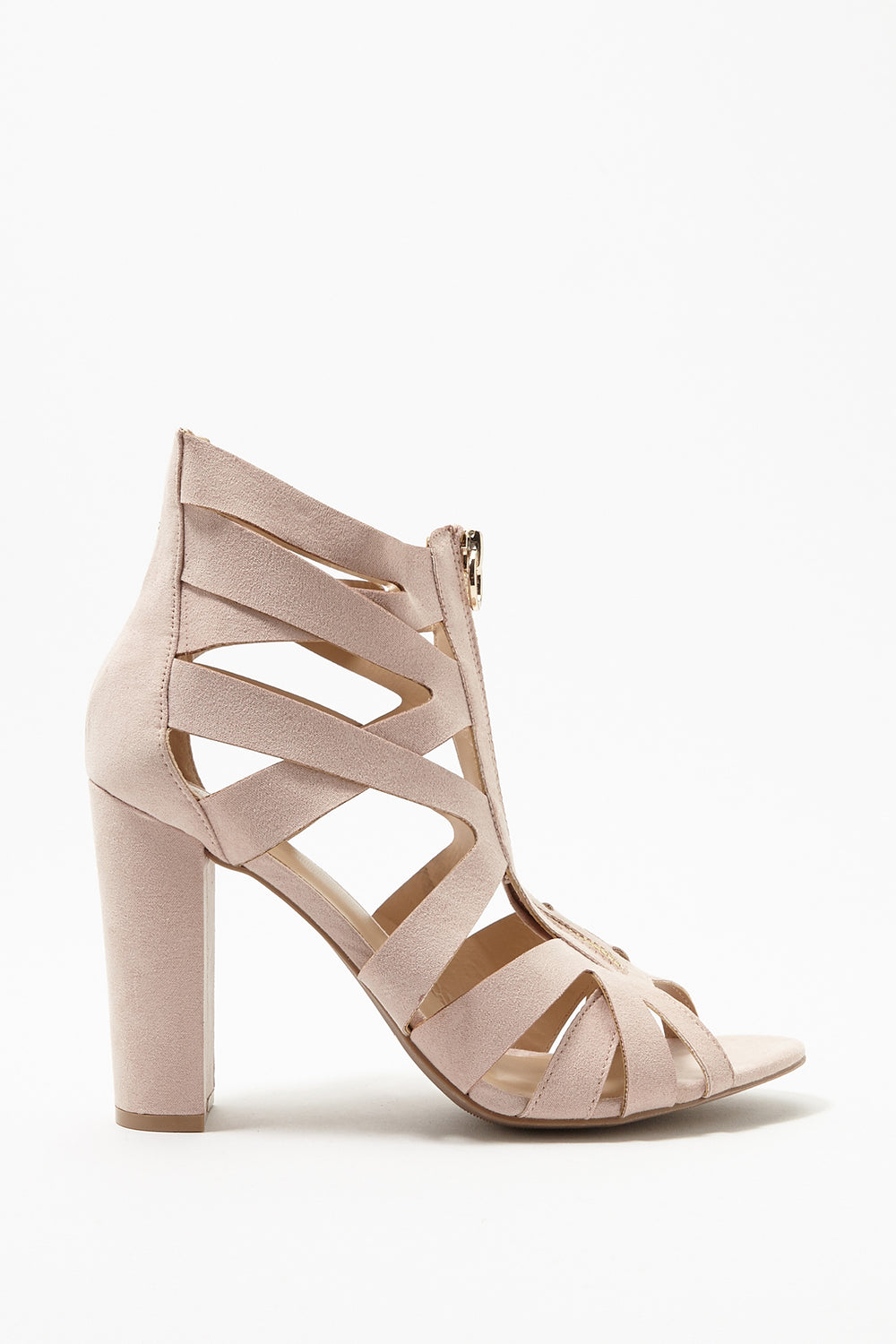 Caged Block Heel Sandal Cream