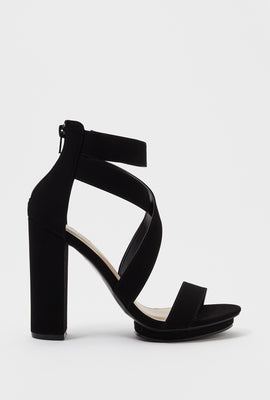 Cross Strap Faux-Leather Block Heel Sandal