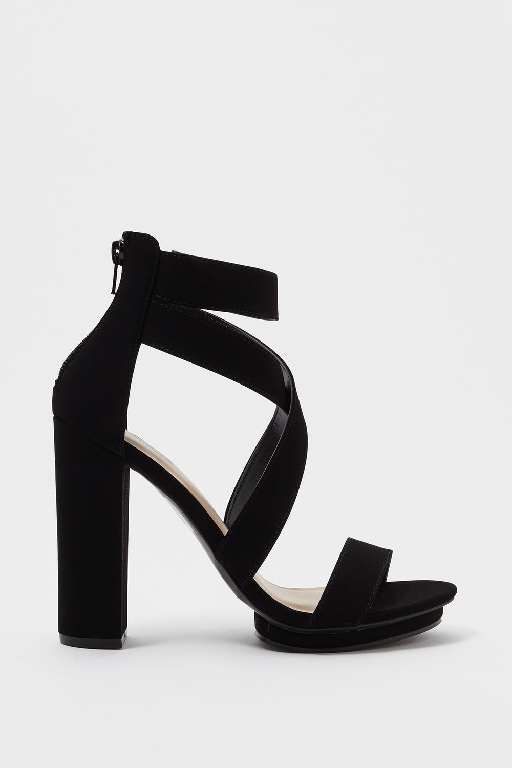 Cross Strap Faux-Leather Block Heel Sandal Black