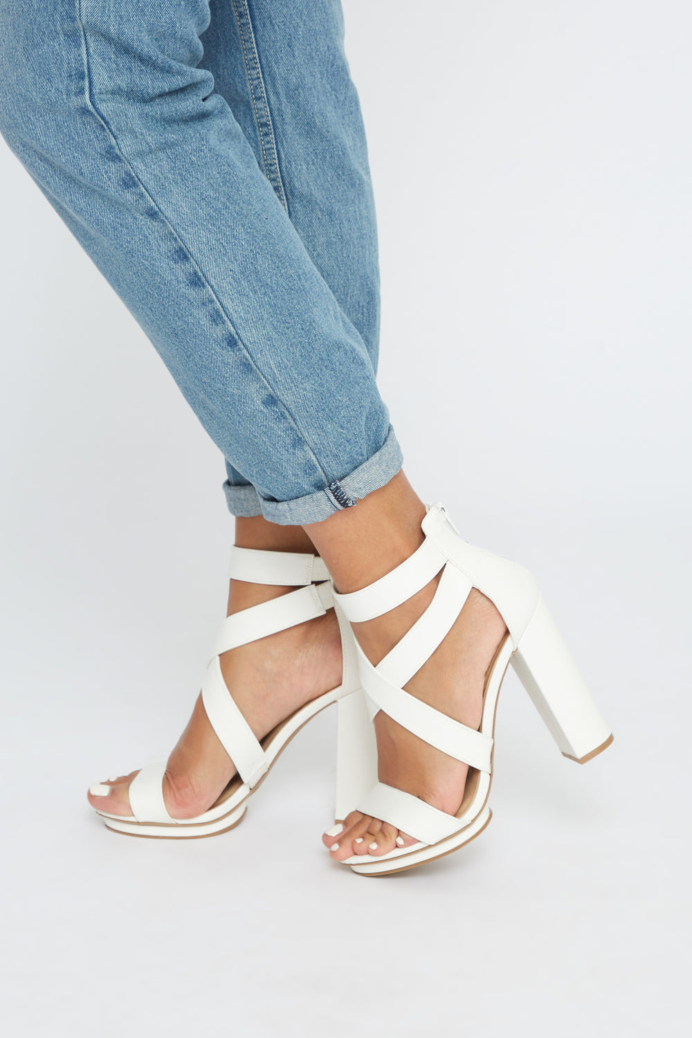 Cross Strap Faux-Leather Block Heel Sandal White