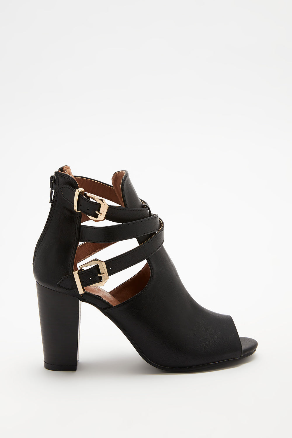 Faux-Leather Peep Toe Ankle Bootie Black