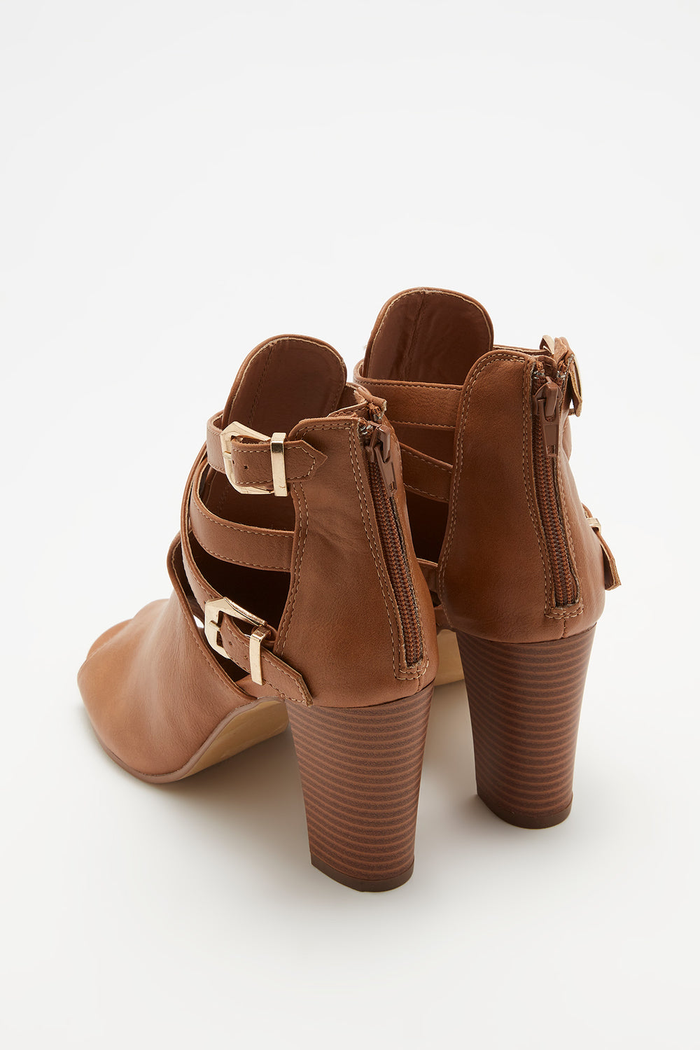 Faux-Leather Peep Toe Ankle Bootie Tan