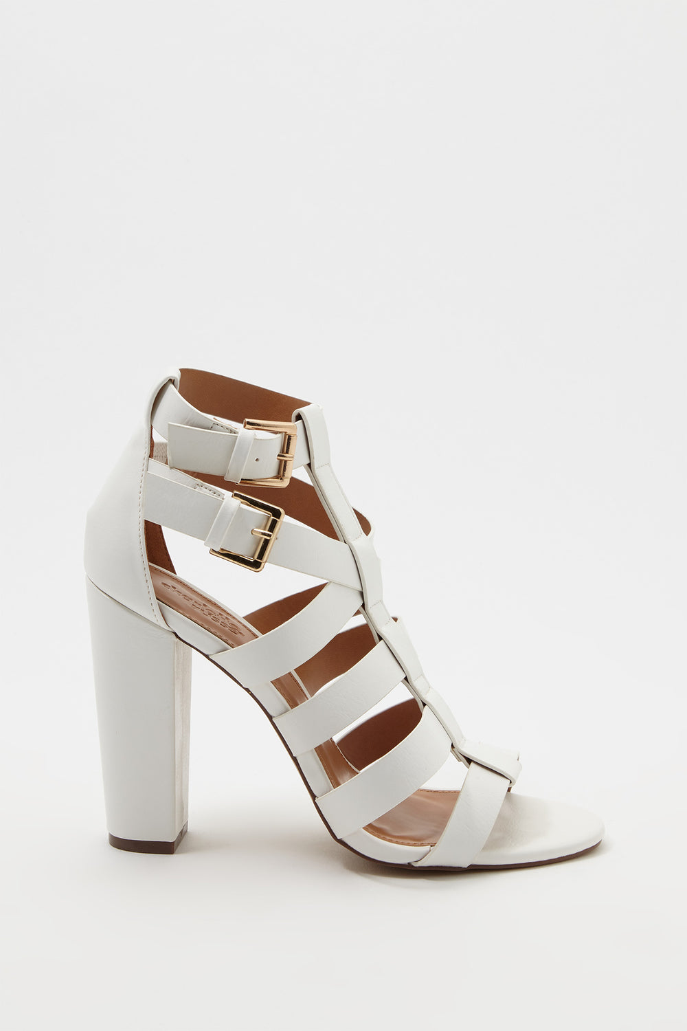 Band Block Heel Sandal White