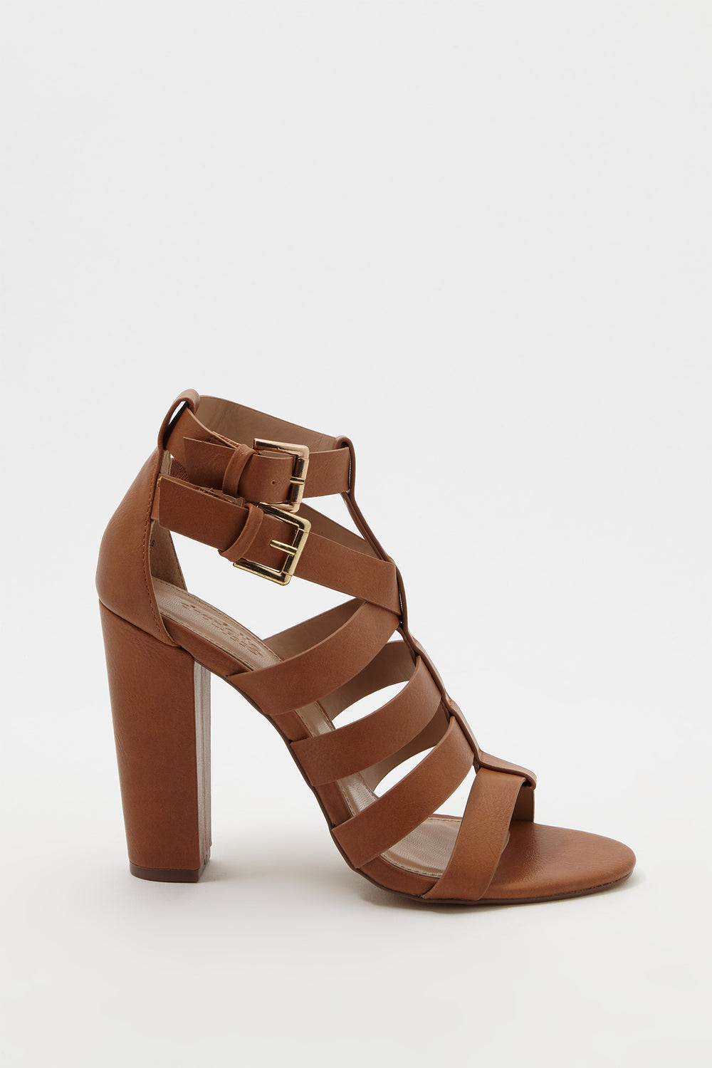 Band Block Heel Sandal Brown