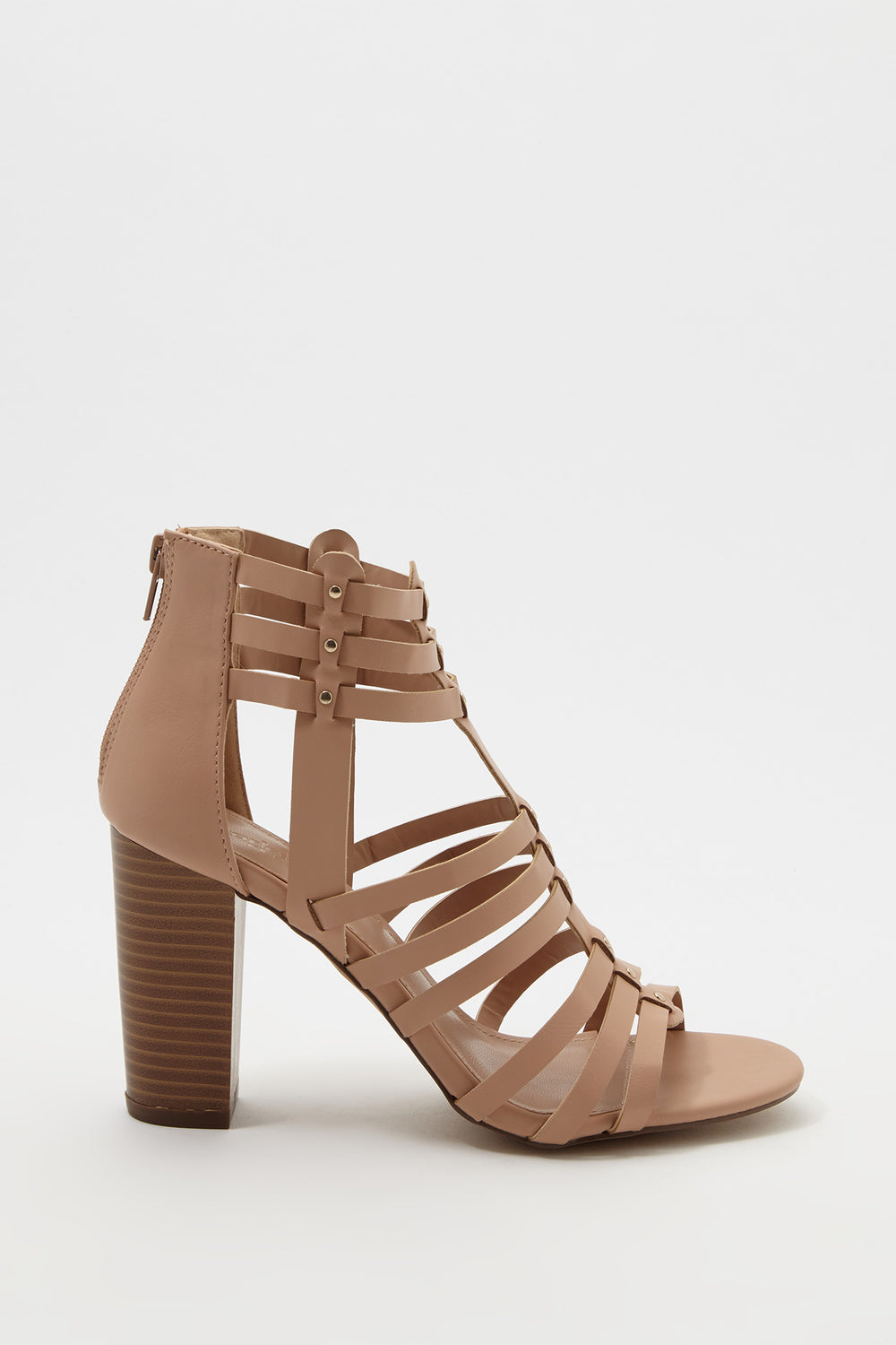 Caged Stud Block Heel Sandal Natural