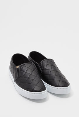 Quilted Faux-Leather Slip On Sneaker