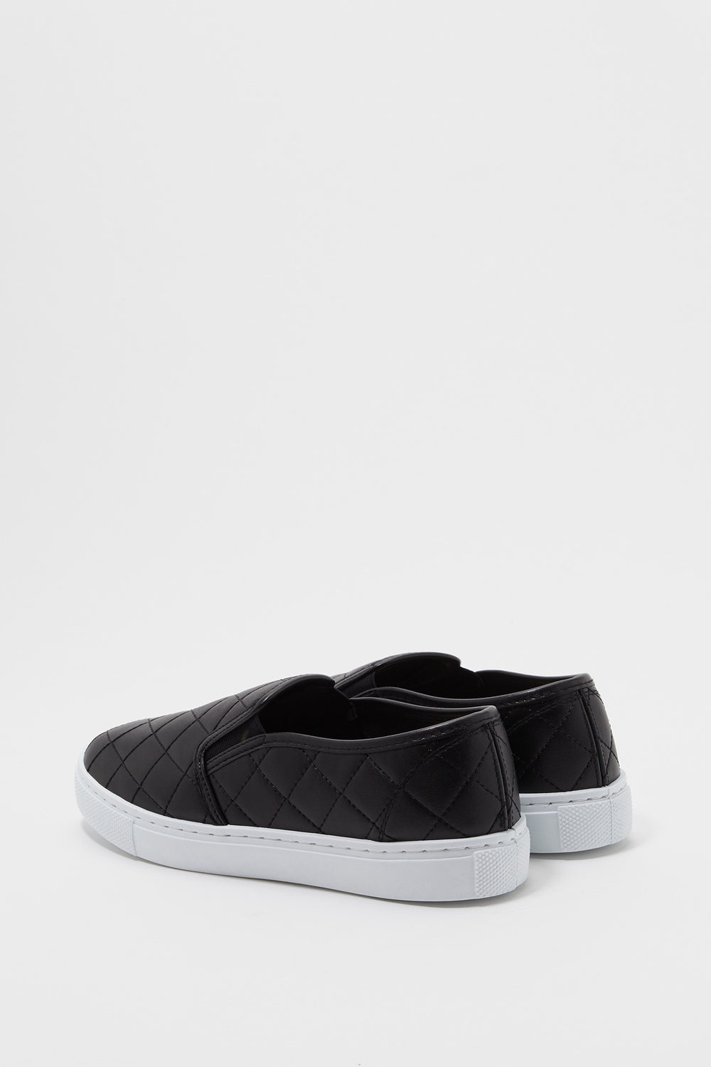 Quilted Faux-Leather Slip On Sneaker Black