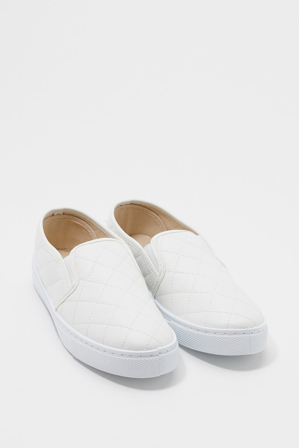 Quilted Faux-Leather Slip On Sneaker White