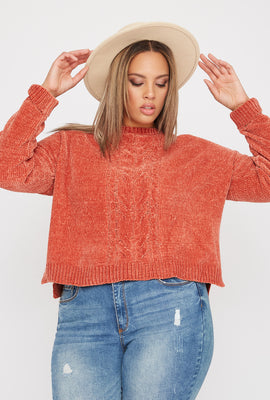 Plus Size Chenille Cable Knit Sweater