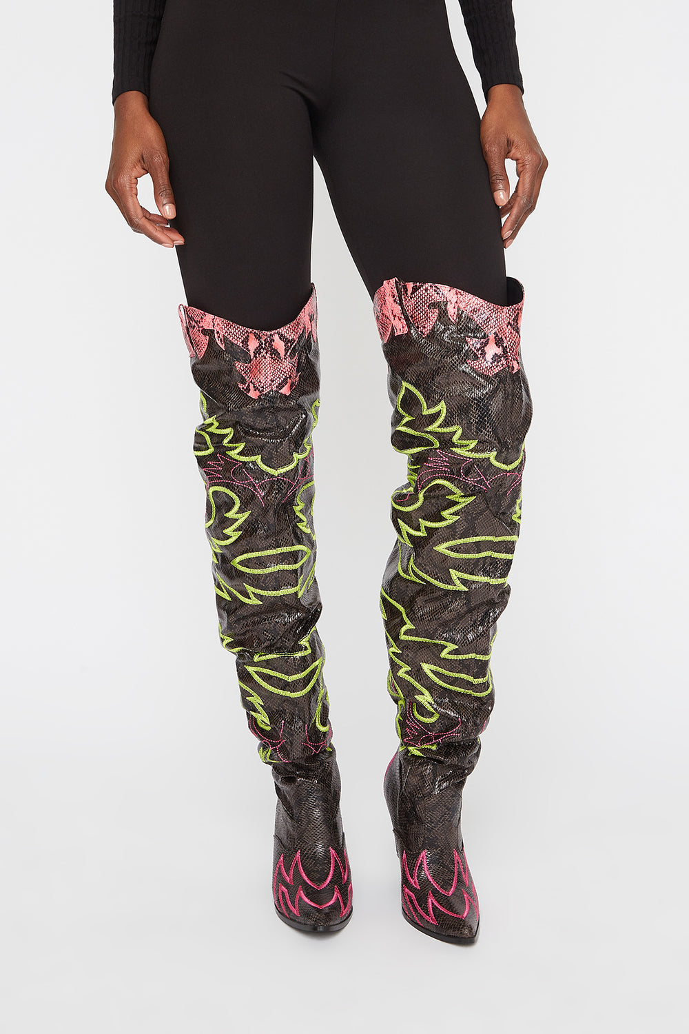 Cowboy Neon Snake Ruched Thigh High Boot Multi