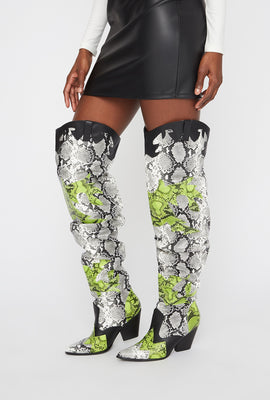 Cowboy Snake Ruched Thigh High Boot
