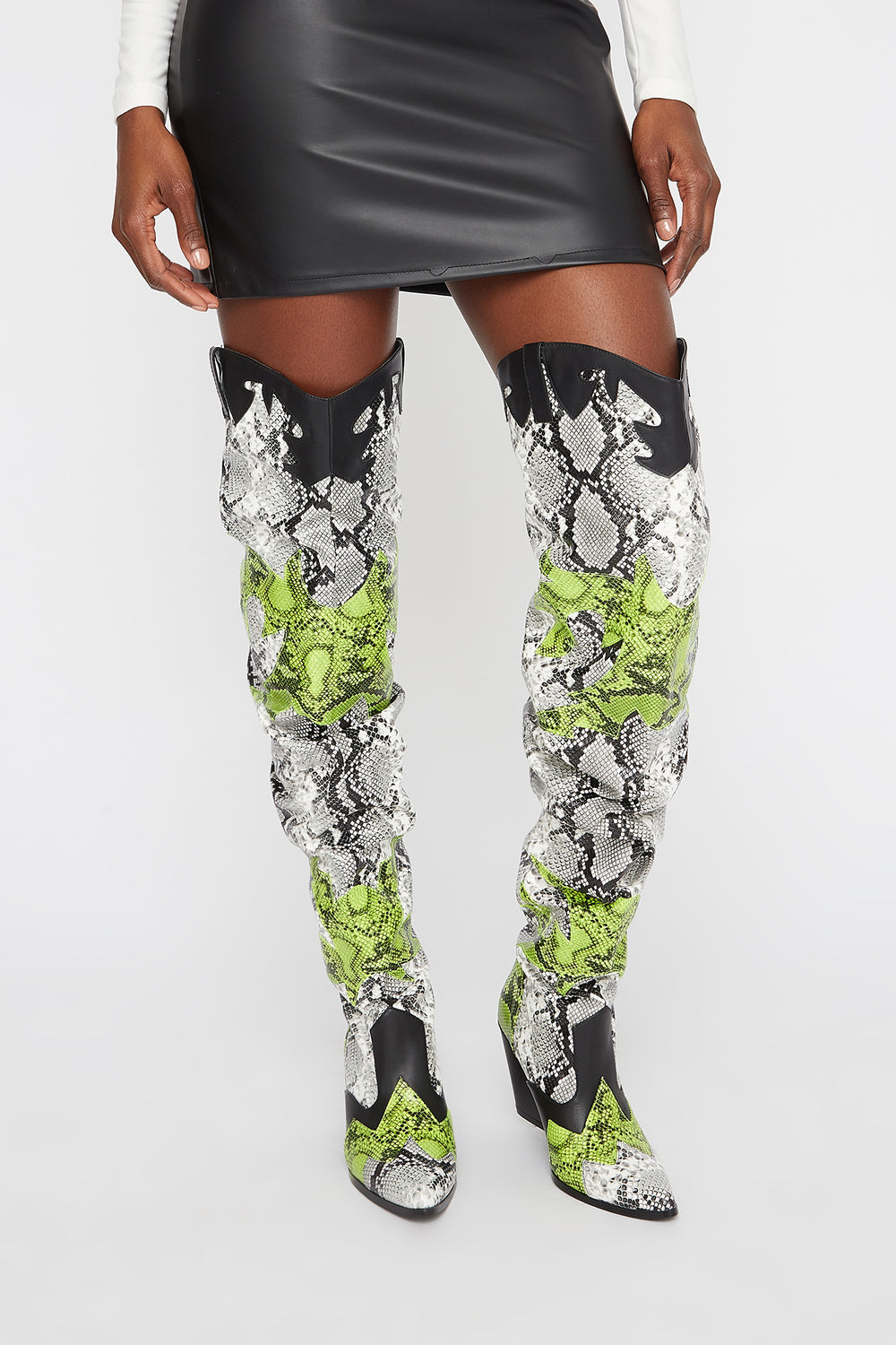 Cowboy Snake Ruched Thigh High Boot Black